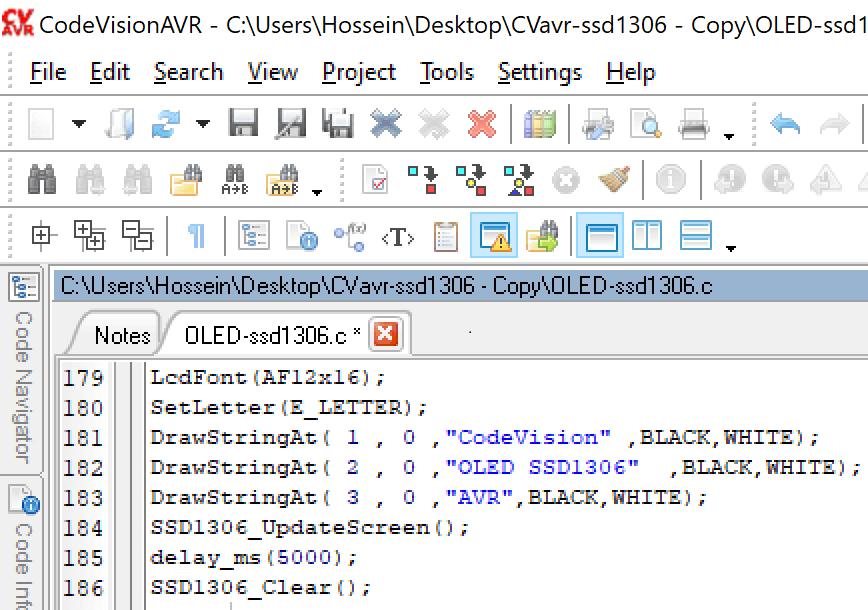 راه اندازی oled ssd1306 با codevision