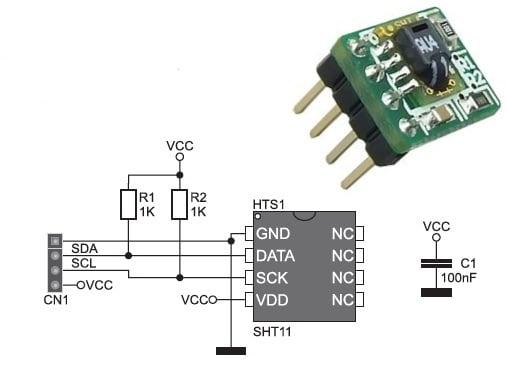 pcb طراحی شده برای سنسور sht11