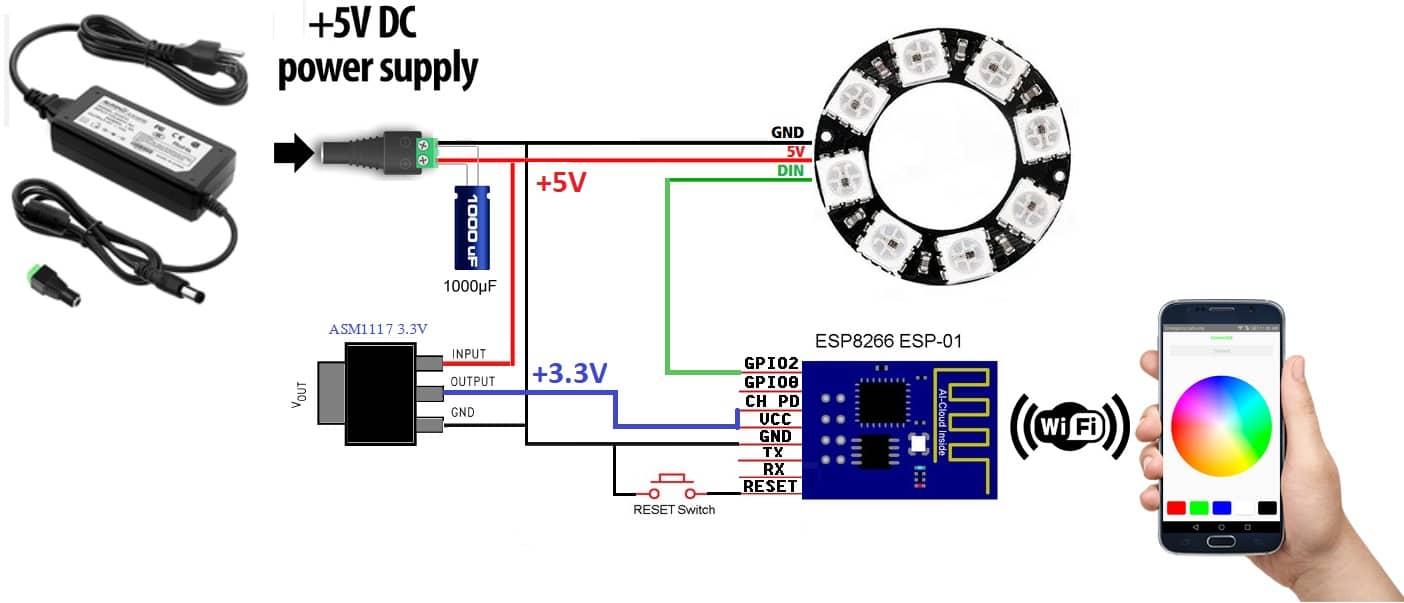 کنترل ws2812b با esp8266